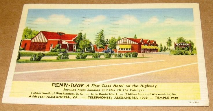Postcard VA Penn-Daw Hotel Alexandria Virginia 1942