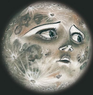 This moon looks so worried - what does he know that he's not telling? Art by Leha van Kommer