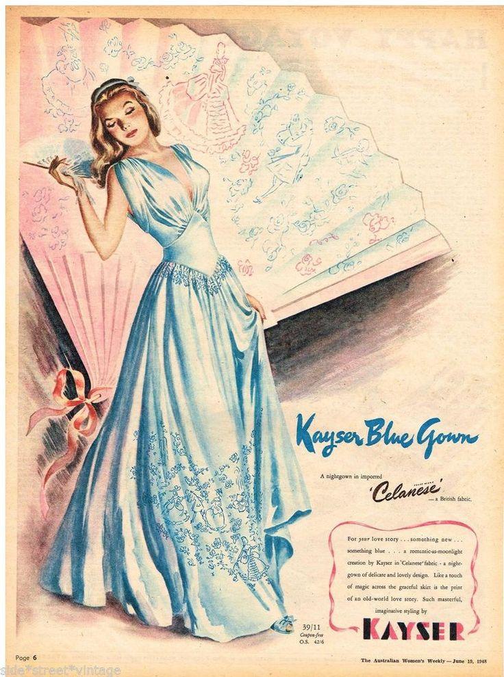 KAYSER BLUE NIGHTGOWN AD WOMEN'S FASHION Vintage Advertising 1948 Original Advert