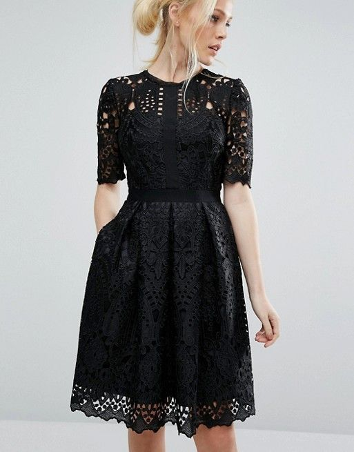 Ted Baker | Ted Baker Engineered Black Lace Dress with Full Skirt at Asos