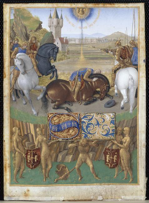 Heures d'Etienne Chevalier (vers 1410-1474), enluminées par Jean Fouquet. 1452-1460. Chantilly, Musée Condé. La Conversion de saint Paul sur le chemin de Damas (Ms71-folio 31 recto).