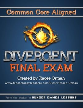 Divergent Novel Final Exam Common Core Aligned - Recently updated to include an additional 53 multiple choice questions for a total of 168 questions. Set up so you can pick and choose the sections you want to assess. #Divergent #education