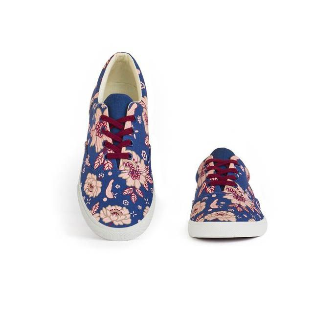 #GiftBuzz - Blue East Canvas Shoes | Bucketfeet Florals get a retro-feel in this pretty as pink canvas lace-up.
