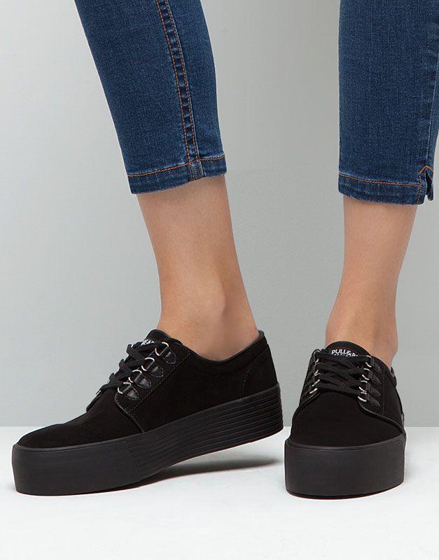 Pull&Bear - dames - pacific girls - urban sneaker met platformzool - zwart - 15735011-I2015