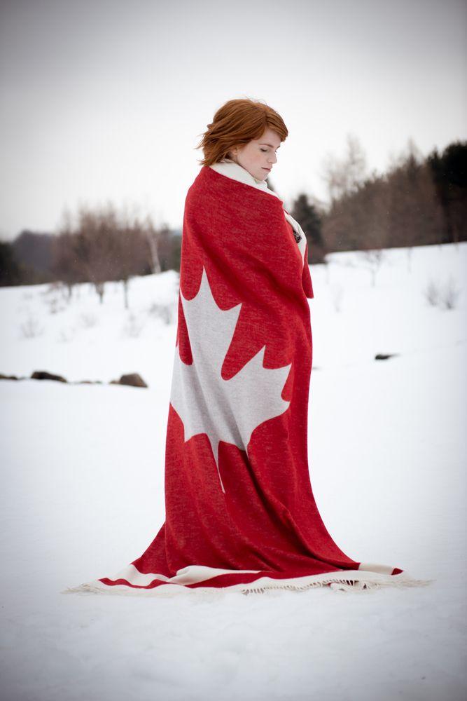 "Original pinner: ""We took to the great Canadian outdoors to showcase our heritage Cabin Collection; full of cozy knits and chunky accessories with our signature red Cabin stripe. This beautiful Canadian Maple Blanket is available soon!"""