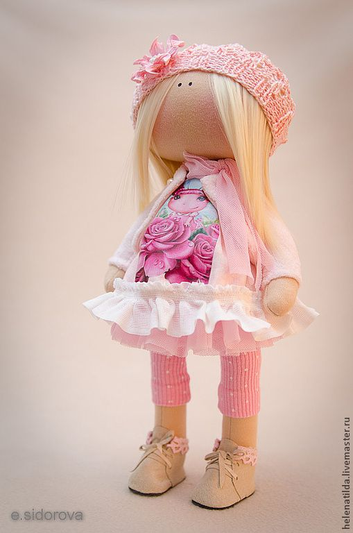 Купить Эмили - бледно-розовый, розовый, кремовый, кукла, кукла в подарок, коллекционная кукла