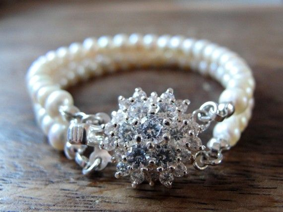 Fresh Water Pearl  Bridal Two stringed Bracelet by YourSparkling