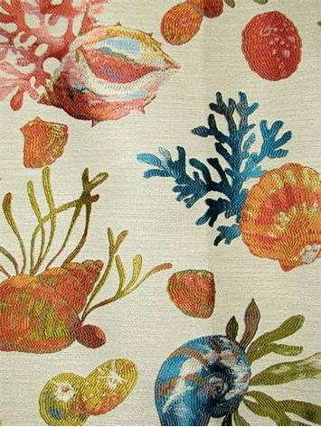 "Sanibel Reef - Luxury tapestry jacquard fabric. Sea life shell and coral pattern fabric. Thick and soft. Perfect for upholstery, drapery, top of the bed or any home décor fabric project. Contents 16% Viscose, 84% Polyester. Repeat; V 19.25"" x H 2.75"". 54"" wide."