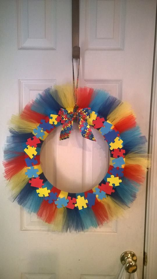14 Tulle Autism Awareness Wreath by RomanzasWreaths on Etsy
