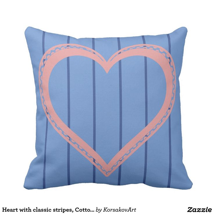 Heart with classic stripes, Cotton Pillow 16x16 #home #interior #valentines #love #decor #heart #design #pillows