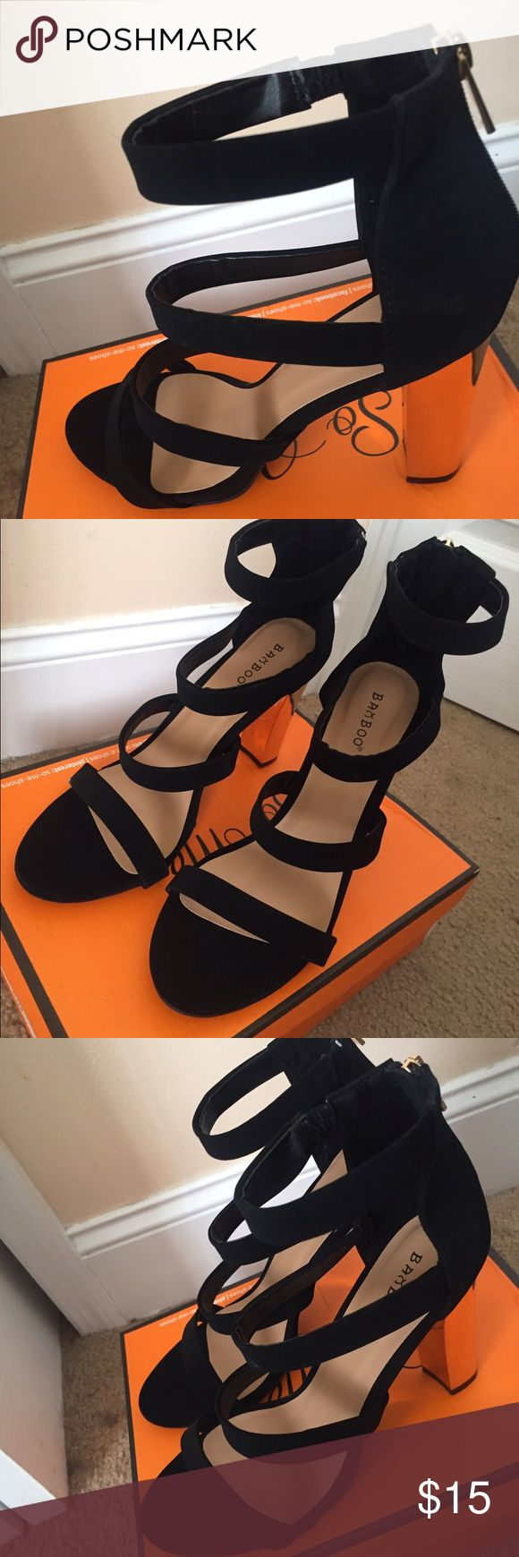 Black & gold sandal heels Black & gold chunky heels 3 strap zip up sandal heels bamboo Shoes Heels