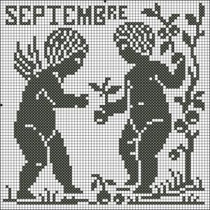 Month 09 | Free chart for cross-stitch, filet crochet | Chart for pattern - Gráfico