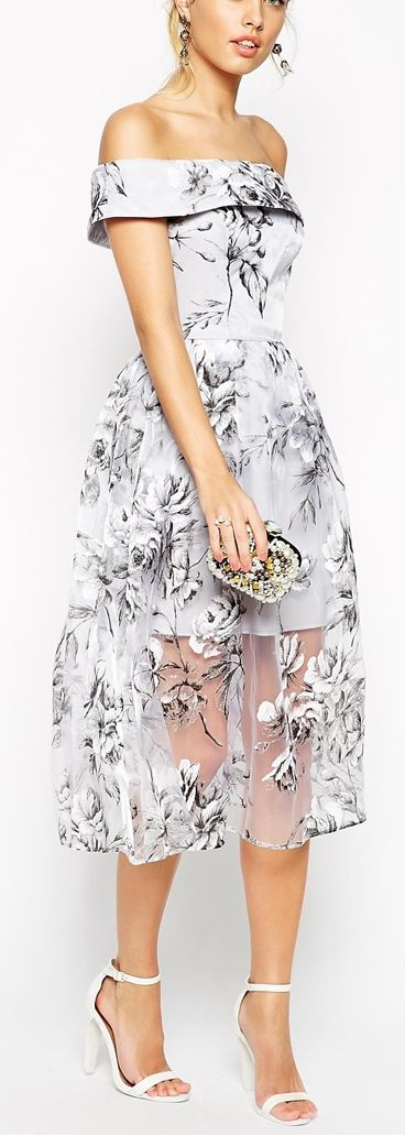 off the shoulder floral organza midi dress