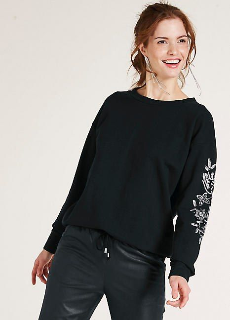 d130c8cd75a6c8 Heine Sweatshirt with Embroidery & Sequins Dream Life, Bell Sleeve Top,  Sweatshirt
