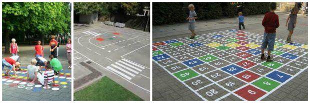 Ideeën voor het schilderen van de tegels op het schoolplein! Een weg maken, spelletjes schilderen, et cetera.