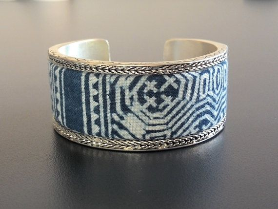 Ethnic Miao Silver Cuff Bracelet/Handmade Silver Batik Bangle/Adjustable Bohemian Cuff/Exotic Fabric Bangle/Boho Bracelet/Hill Tribe Jewelry