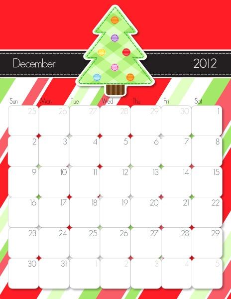 Printable December Calendar  http://imom.com/tools/get-organized/2012-printable-calendars/  #calendar