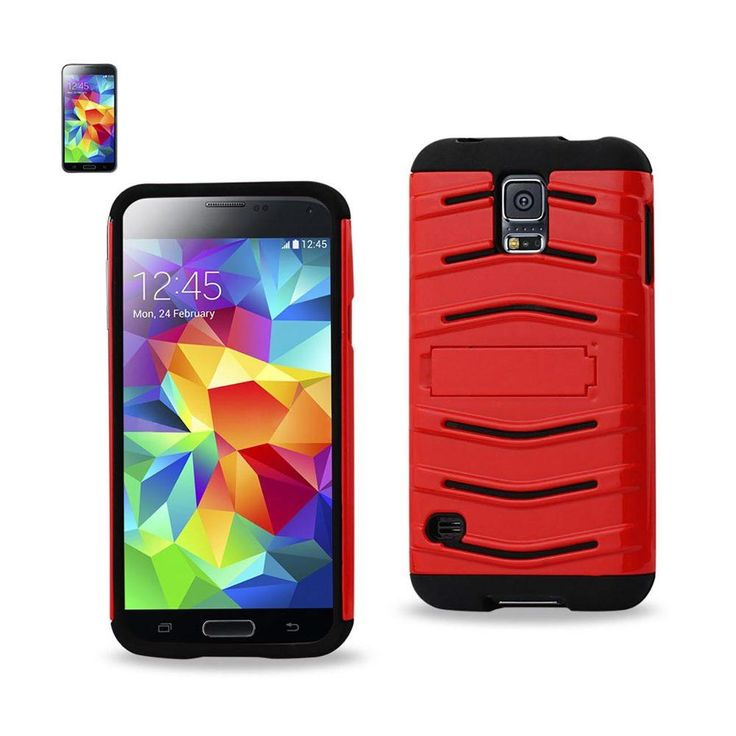 Reiko Fish Bone Pattern Hybrid Case For Samsung Galaxy S5 Black Red With Horizontal Kickstand