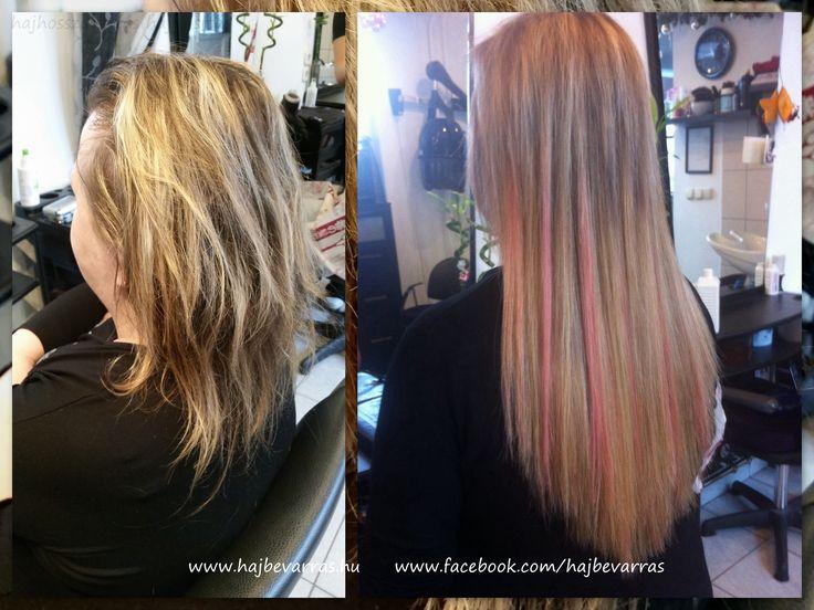 Hajhosszabbítás 50 cm-es európai hajból, mikrogyűrűs, 3 soros felvarrással, és egy pár rózsaszín tinccsel megbolondítva :)  www.hajbevarras.hu www.fb.com/hajbevarras #hajhosszabbítás #hajdúsítás #mikrogyűrű
