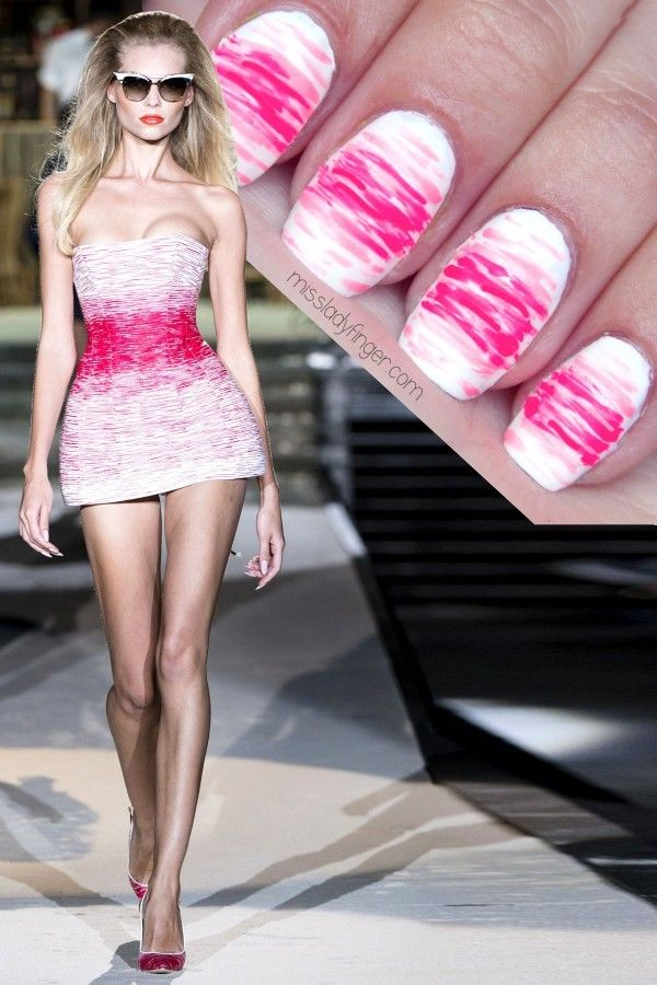 Runway looks are fun to copy as nail art designs! Try this chic pink mani! #nailart #pinknails