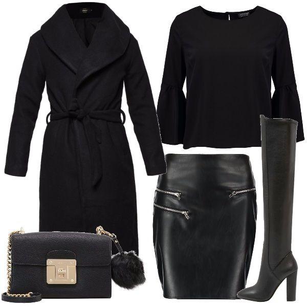 Outfit grintoso, per serate dove non volete passare inosservate. Mini in pelle nera, e stivali sopra il ginocchio, con tacchi altissimi. Grinta, stemperata dalla blusa morbida e dal cappotto lungo.