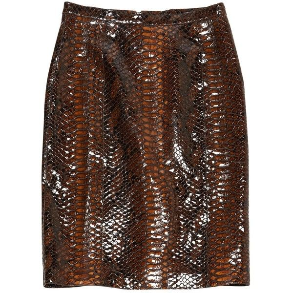 Pre-owned Burberry Prorsum Leather Mid-Length Skirt (€1.065) ❤ liked on Polyvore featuring skirts, brown, women clothing skirts, brown pencil skirt, brown leather skirt, brown skirt, burberry skirt and genuine leather skirt