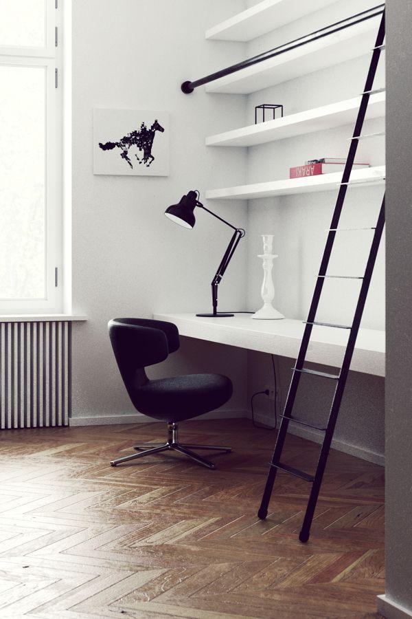 Prachtige vloer en een leuk trapje voor de boekenplank.