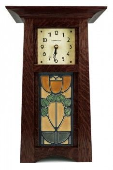 "Schlabaugh Craftsman Clock with 4"" x 8""Motawi Tile - ArtsAndCraftsTile.com"