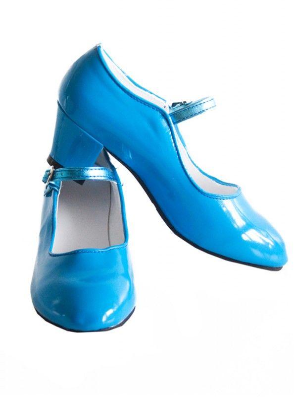 Spaanse schoenen blauw lak (glossy)