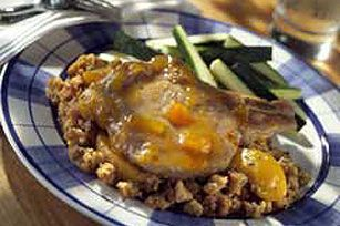 This terrific baked pork chop dish will put you in mind of summer no matter when you make it—thanks to the peach slices and peach preserves.