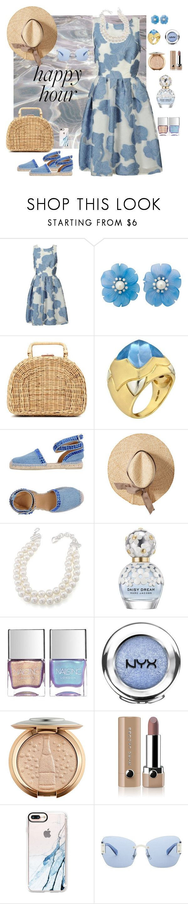 """""""Happy Hour"""" by kerstin-kroeger ❤ liked on Polyvore featuring P.A.R.O.S.H., Helen Ringus, Kayu, Bulgari, Philipp Plein, Carolee, Marc Jacobs, Nails Inc., NYX and Casetify"""