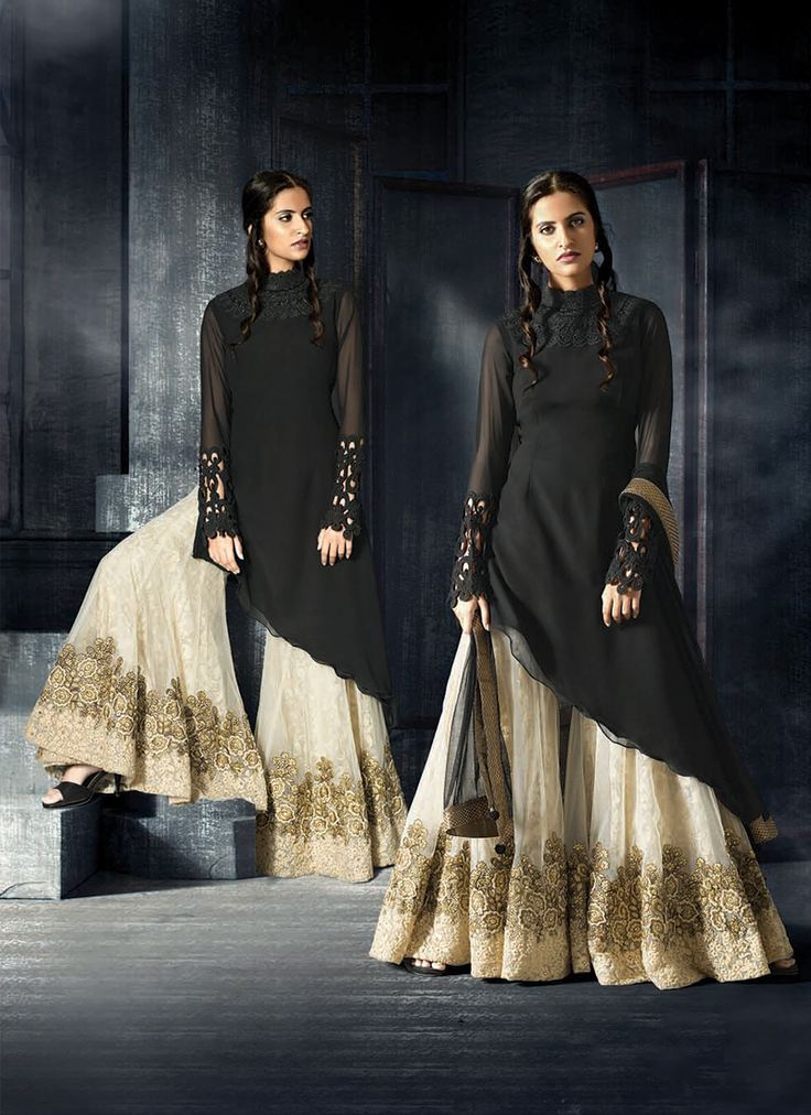 Featuring resplendent black and cream palazzo suit adorned with resham embroidery and lace work.It is paired with matching palazzo material and duppata. This outfit can be stitched upto size 44. For stitching enquiries, please email at customercare@hunardesigns.com  |…