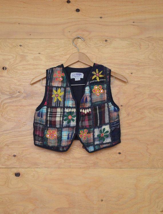Vintage 80's Embroidered Girls Navy Floral Vest by ThatchVintage