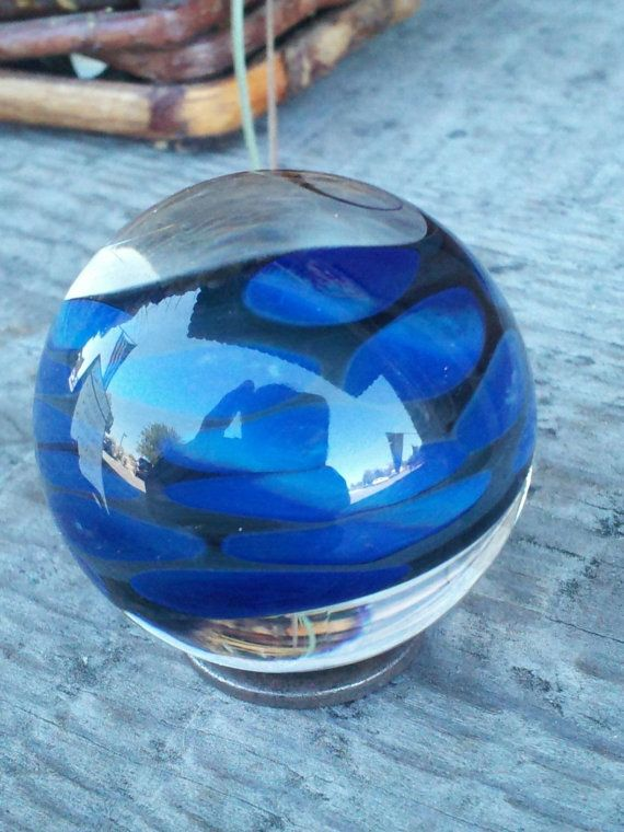 Made In 2013 This Is A Double Twisted Fume Marble Backed With Black And Dotted With A Cloudy Blue Boro Glass The First Twi Handmade Glass Marble Glass Marbles