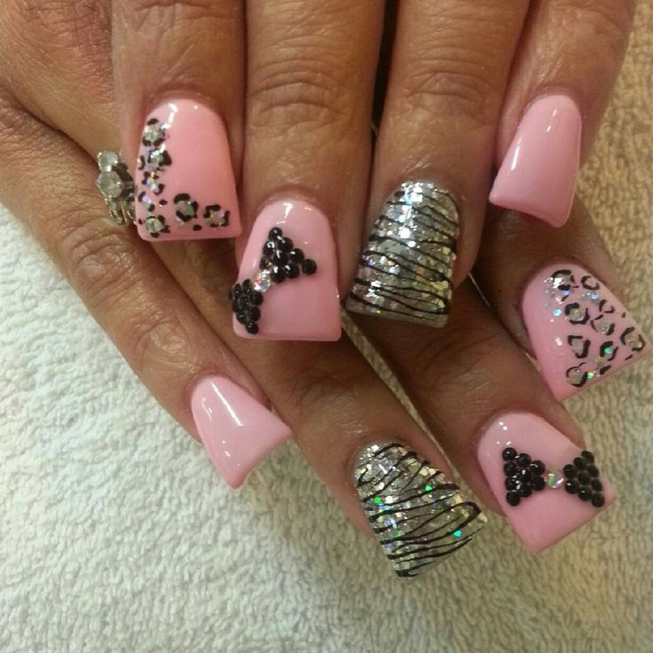 Zebra & Cheetah Pink Nails