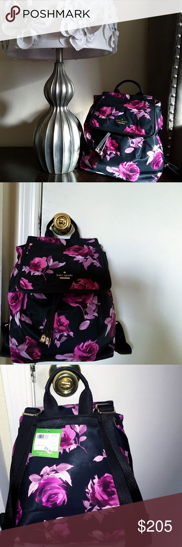 "ON SALE! Dazzling Kate Spade Backpack This stunning ""Molly"" backpack by Kate Spade features a floral design and golden accents. New with tags. I am open to all reasonable offers. On sale until 12/30/16, then back to regular pricing. kate spade Bags Backpacks"