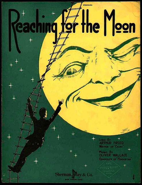 """""""Reaching for the Moon"""" - Vintage sheet music published by Sherman, Clay and Co. (1919)"""