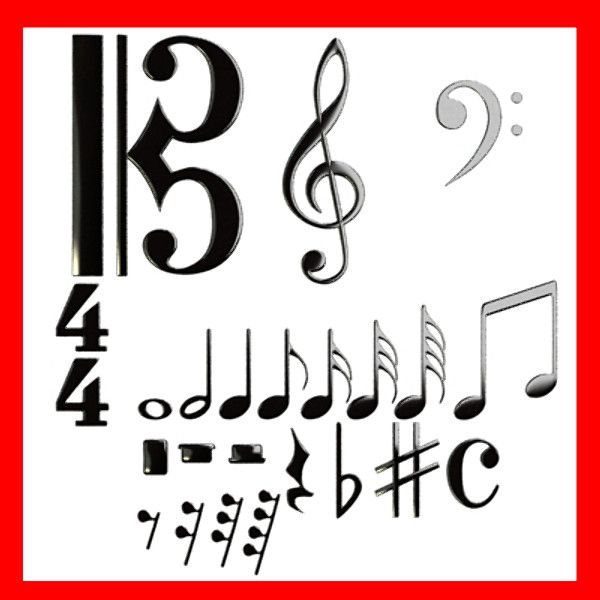 3D Model Musical Symbols 3D Model- Smootheable musical symbols.    In Obj, 3ds, fbx and max files, I included models without smooth, and models with turbosmooth 2 iterations.      *************************************    Obj, 3ds, fbx and max files, are compressed in zip files with all materials, textures and folders.    High resolution textures : partiture : 2362 x 1772    Standard 3d studio max materials and Vray materials included. with .mat and .mtl    6.502 polygons all models, no…