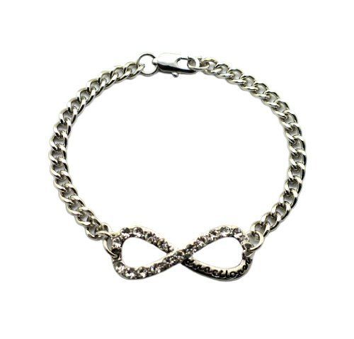 Silver Small One Direction Infinite Directioner Link Bracelet JOTW. $9.95. Great Quality Jewelry!. 100% Satisfaction Guaranteed!. The directioner piece measures 1.25 inches from left to right and .5 inches from top to bottom.