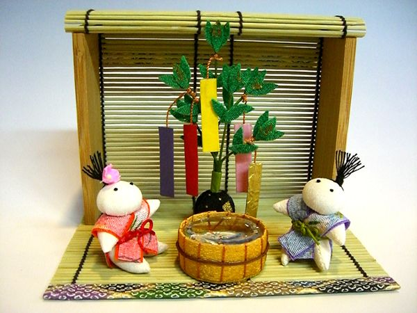 Star festival-Dolls made by chirimen,Japanese kimono fabric