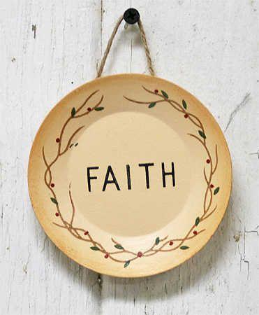 Small Primitive  Faith  Wooden Plate - Primitive Decor  sc 1 st  Pinterest & 49 best primitive plates images on Pinterest | Primitive plates ...