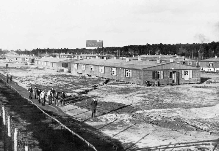 General view of the huts and compound at Stalag Luft III prisoner of war camp, scene of the 'Great Escape' in 1944.