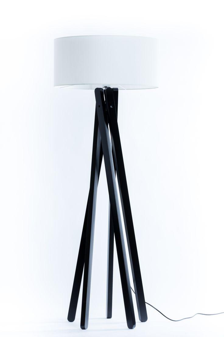 Handgefertigte Design Stativ Stehlampe   Studiolampe mit Stoffschirm aus Chintz in weiß und Stativ/Gestell aus Holz Echtholz Schwarz *Exklusiv bei DL-designerlampen*