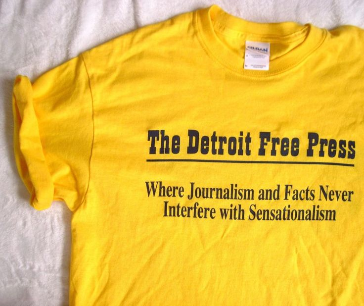 DETROIT FREE PRESS Newspaper Journalism Sensationalism Yellow T-shirt M