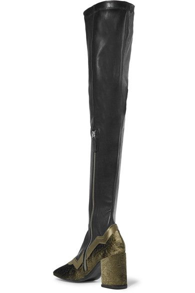 MR by Man Repeller - The I'm Really Here To Party Leather And Embossed Velvet Over-the-knee Boots - Black