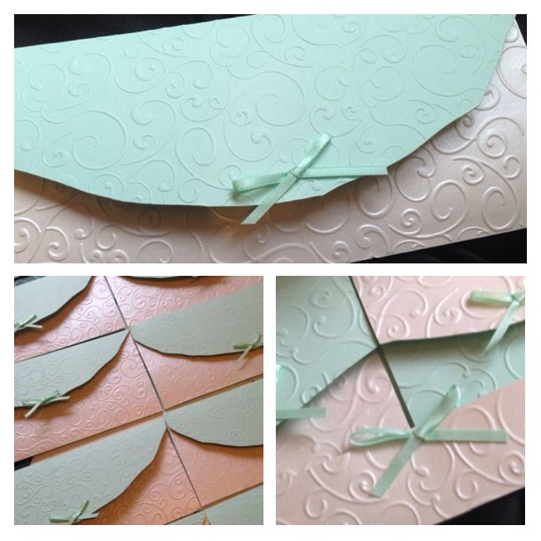 Gorgeous mint and cream embossed invite x