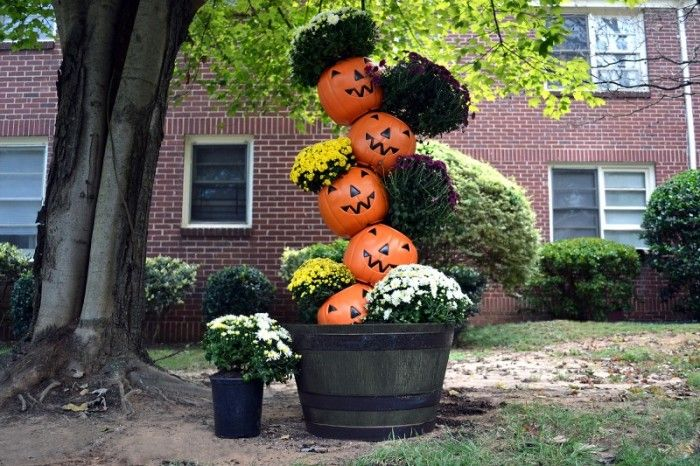 Fall Mums Pumpkin Topiary | Southern Patio