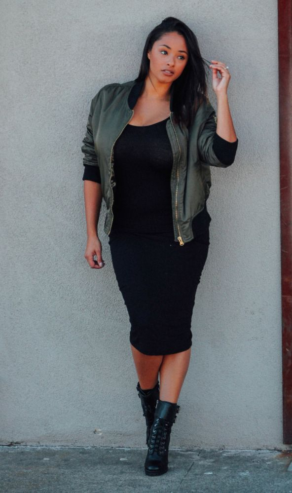 Khaki Green Bomber Jacket From Topshop And Black Midi Dress With Lace Up Boots. Beyondherreality ...