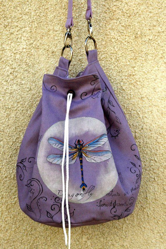 Violet Dragonfly Bag by AtelierGOBI on Etsy