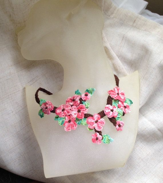 Free form crochet necklace Blossom Cherry tree by FiBreRomance